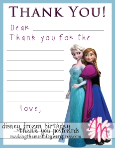 Disney Frozen Birthday Thank You Cards | Making the Most Blog